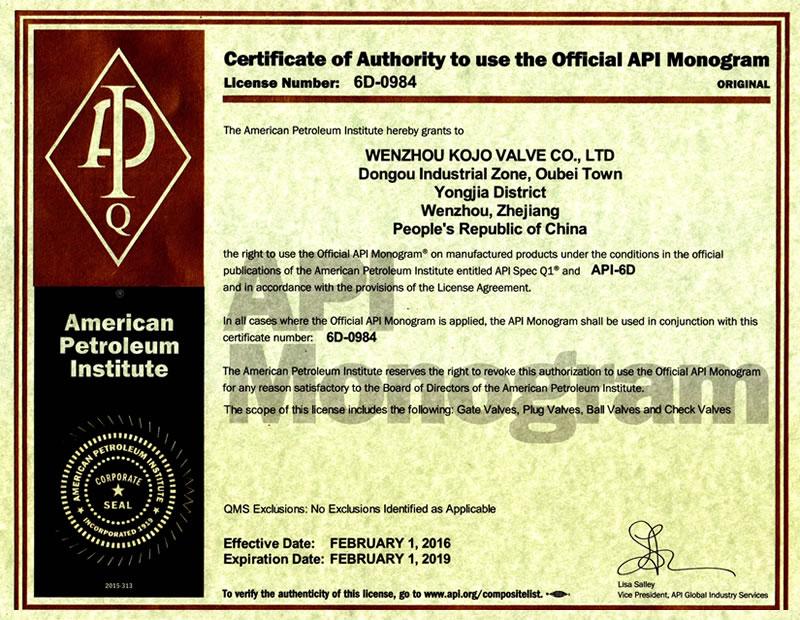 certification api 6d valve
